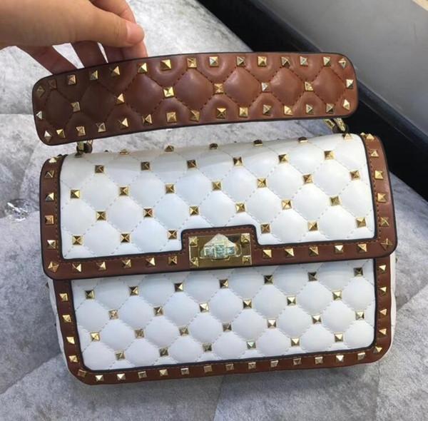 Diseñador de lujo clásico bolso de mano de cuero genuino calidad bandolera bandolera 2019 nuevo remache bolso 11