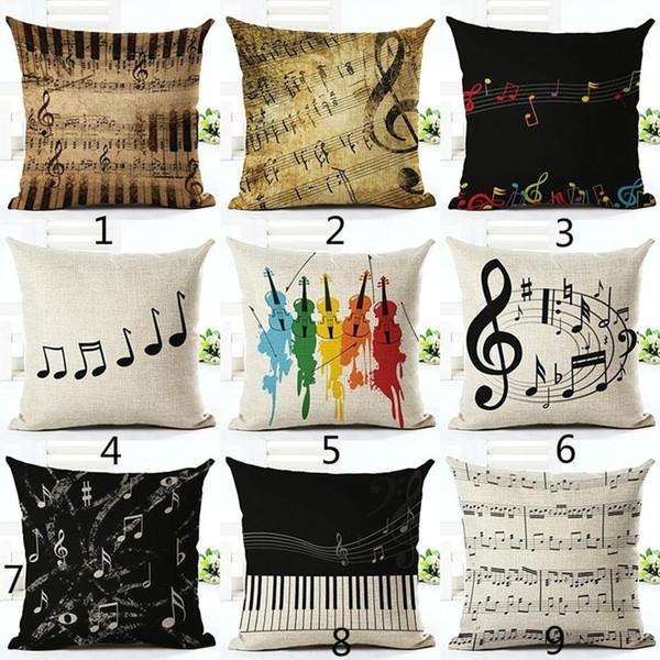 جديد وصول موسيقى البيانو ملاحظة الكتان وسادة القضية غطاء وسادة أريكة غرفة نوم سيارة الديكور مجموعة