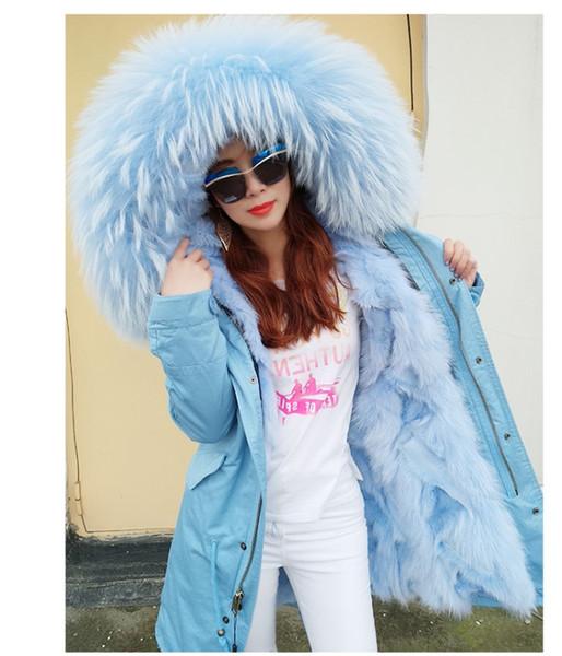 maomaokong brand women snow coats light blue fox fur jackets Lavish raccoon fur trim 100% real fox fur lining light blue long parkas