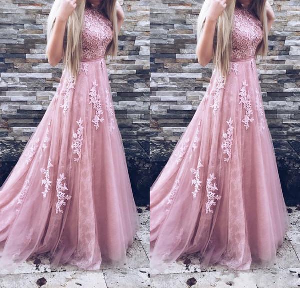 2019 Long Prom Vestidos Sheer Neck Tulle A Linha Apliques de Renda Sem Mangas Com Cinto Blush Rosa Formal Vestidos de Noite Vestido de Baile Vestido de Festa