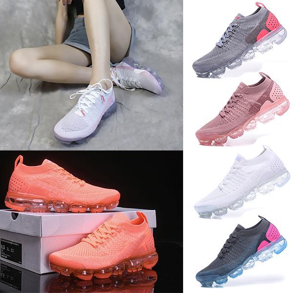 Nike Air VaporMax 2018 Flyknit 2.0 pour femme Mode Sportive Classique Corss Randonnée Jogging Marcher Noir Bleu Rouge Cushion Sneakers Designer Chaussures Eur 36-40