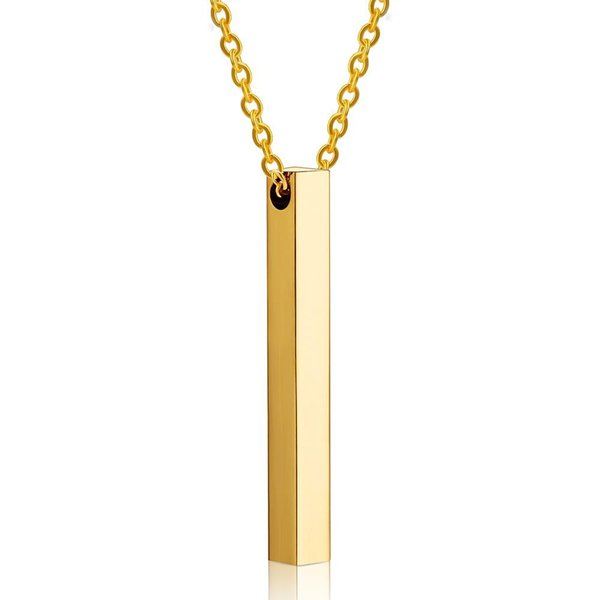 Personalized Custom Engraving Long Stick Pendant Necklace 316L Stainless Steel Cylinder Figure Custom Label Jewelry Lovers Gifts Wholesale