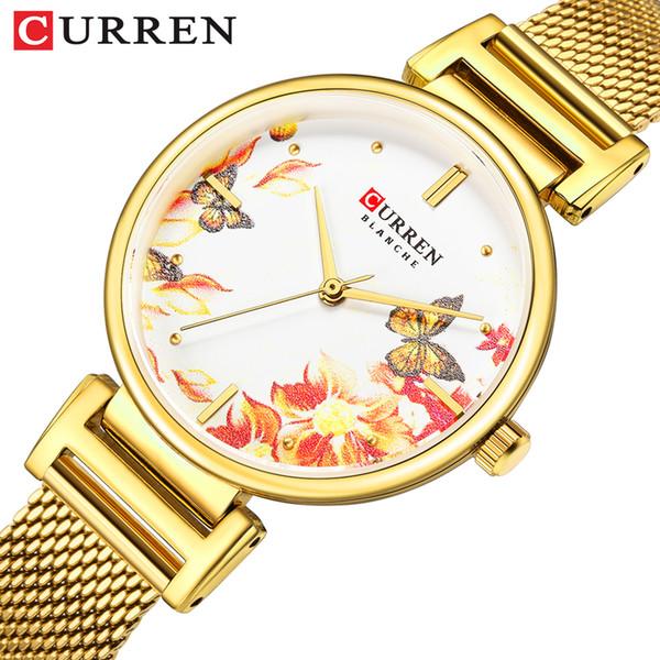 Neue CURREN Uhren Edelstahl Frauen Uhr Schöne Blume Design Armbanduhr für Frauen Sommer Damen Quarzuhr