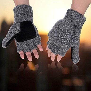 Fashion-Gloves Warm Wool Mittens With Mitten Cover Winter Warm Wool Knitted Convertible Gloves Mittens with Mitten Cover HJ131