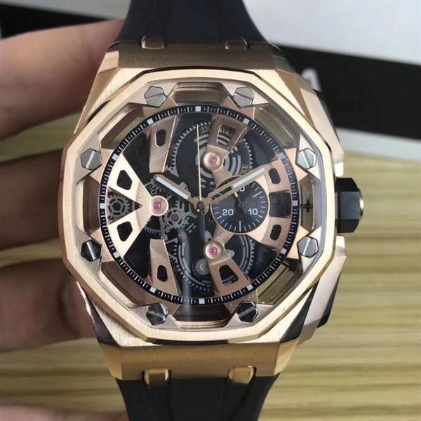 2019 Nuevo estilo Negro Goma Moda Relojes para hombre Relojes de pulsera de cuarzo Cronómetro Reloj Deportes Relojes automáticos Relojes de pulsera