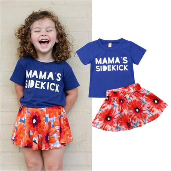 Марка Летний Малыш Baby Girl Kid 2 Шт. Наряд МАМА SIDEKICK Футболка + Цветочные Юбки Новая Мода Одежда Детский Набор