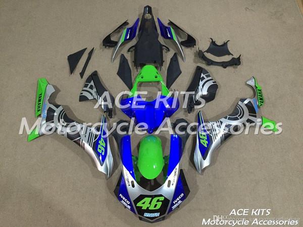 ACE KITS Motocicleta carenagem Para YAMAHA YZF R1 2015-2016 Injeção ou Compressão Carroçaria assombrosa verde azul NO. 220