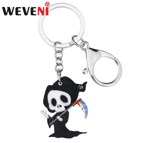 weveni acrylic halloween skull skeleton sickle reaper key chain ring bag car purse decoration keychain women girl gift accessory, Silver