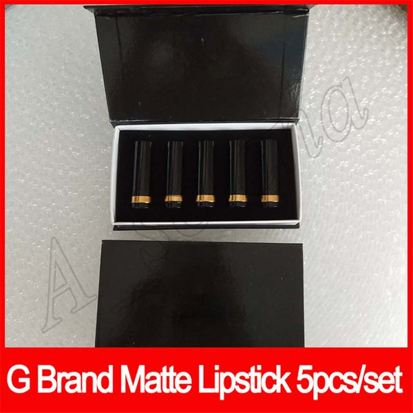 Maquillage à lèvres populaire rouge à lèvres mat 5 couleurs mini tube noir rouge à lèvres mat tube 5pcs / set lèvres cosmétique set livraison gratuite