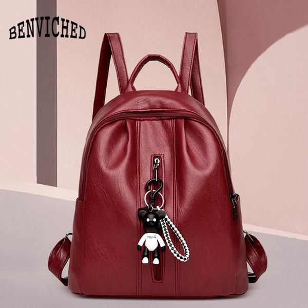 2019 nouvelle mode dames sac à bandoulière voyage pu sac à dos en cuir souple avec pendentif de haute qualité grande capacité x0007