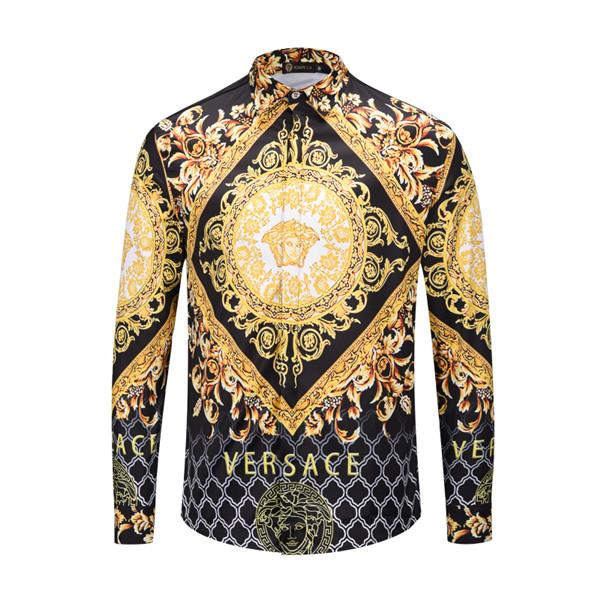 new Fashion Designer Hot Autumn winter Harajuku Medusa shirt gold chain Dog Rose print shirts Fashion Retro floral Men long sleeve tops shir