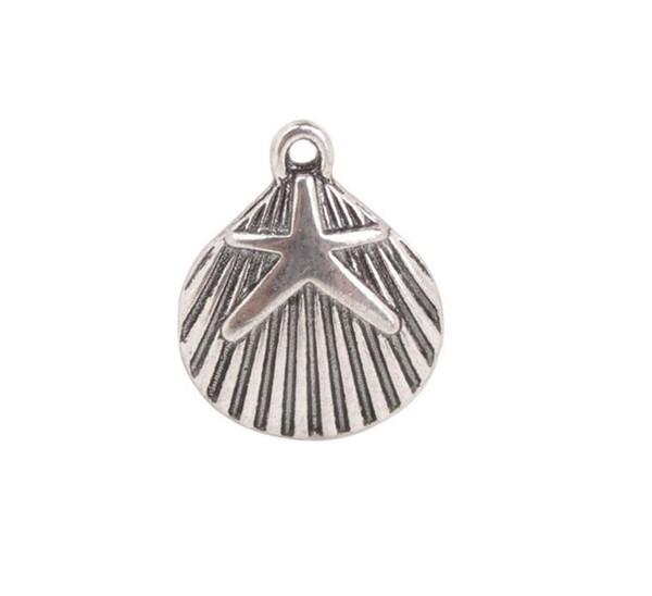 50 PCS Antiqued Silver Starfish Shell Charms Pendentif Making For European Hommes Femmes Bijoux Collier Bracelet Boucles D'oreilles Accessoires 15x18mm
