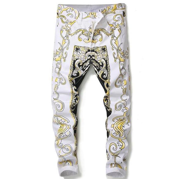 En Moda Avrupa Çiçek Baskı Kot Erkek Sıska Beyaz Rahat Pantolon Uzun Pantolon # 584
