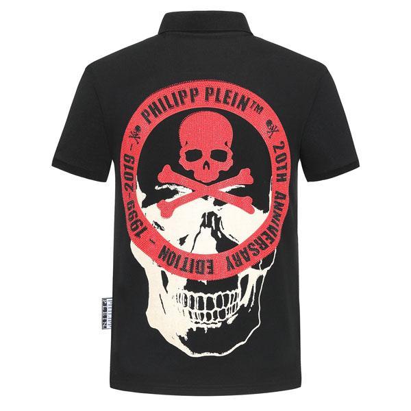 # 6010 La nouvelle mode PP été Tendance Hommes crâne de cristal Polo manches courtes en coton T-shirt de luxe Hip hop Hommes Polos Chemises