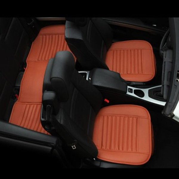 Quality PU Car Seat Cover Breathable Leather Pad Mat for Auto Chair Cushion 3pc front & Rear seat cover Gray Color Orange Color