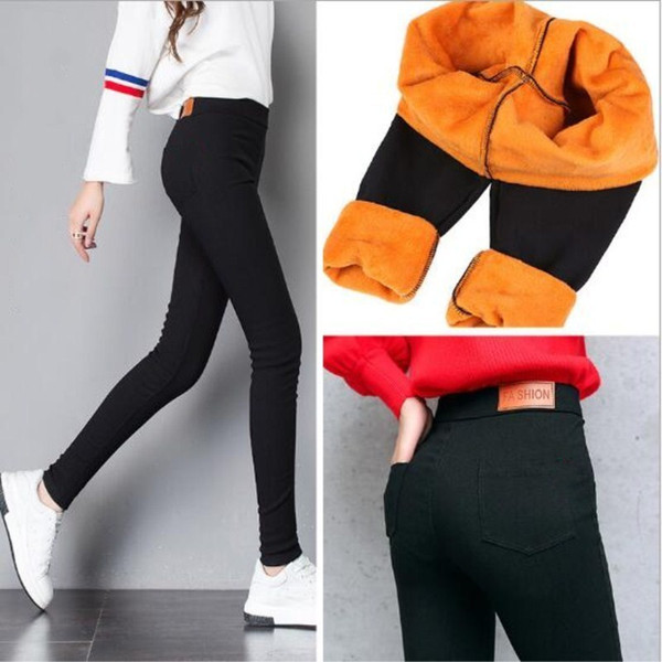 Pants Winter Women Thick Warm Fitness Leggings Gold Fleeces Footless Leggings Female Skinny Black Legging Trousers P8496