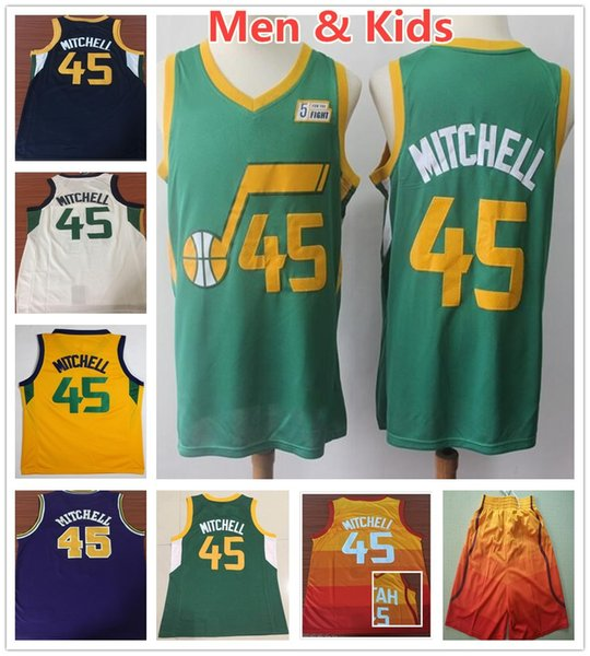 pretty nice 4ae97 c3c14 2019 Kids Youth Mens 45 Donovan Mitchell Jerseys Earned Edition Green City  Orange Blue White Yellow Donovan Mitchell Jersey Stitched Shirt Boys From  ...