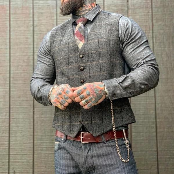 2019 Fashion Check Groom Vests Single Breasted Formal Vest Best Men Wear For Wedding Groomsmen Clothes
