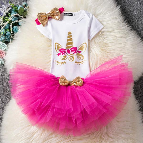 Einhorn Geburtstagsparty Kleid Für Babys Sommer Kleinkind Taufe Kleider 12 Mt 18 Mt 1. Neugeborenen Mädchen Smash Outfits Baby Kleidung