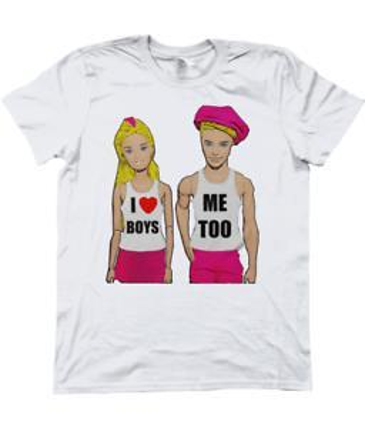 T-Shirt divertente, gay, LGBT. Amo i ragazzi! Anch'io! Doll Art, Pride / Mardi Gras, XL