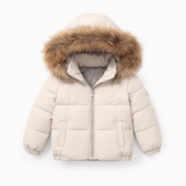 2019 Winter Baby Jacket For Girls Boys Down Jacket Kids Warm Fur Collar Hooded Outerwear Coat Children Clothes 4 6 8 10 11 Years Fur Coat Kids Coats