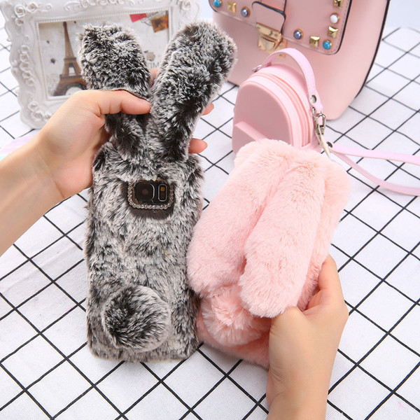 Lovely 3d Rabbit Ears Soft Tpu Luxury Hair Fluffy Diamond Phone Case For Samsung Galaxy J3 J5 J7 Cute Furry Warm Back Cover