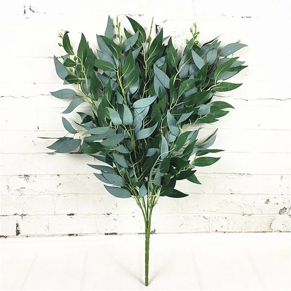 Bouquet artificiel de saule faux feuilles pour la maison de noël décoration de mariage jugle partie saule vigne faux feuillage plantes guirlande