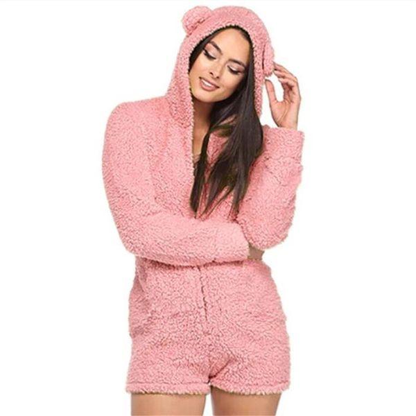 Fashion Women Hooded Playsuit Winter Long Sleeve Fur Jumpsuit Cute Bear Ear Short Jumpsuits