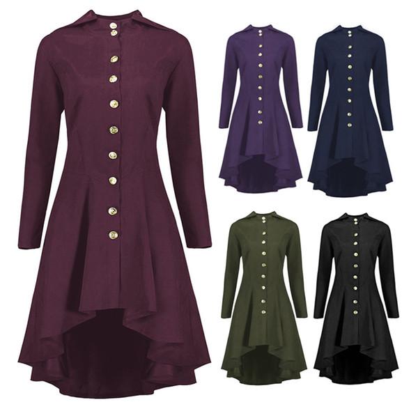 Kadın Asimetrik Ceket Vintage Gotik İnce Geri Lace Up Kapşonlu Düğme Casual Uzun Yüksek Düşük Ceket