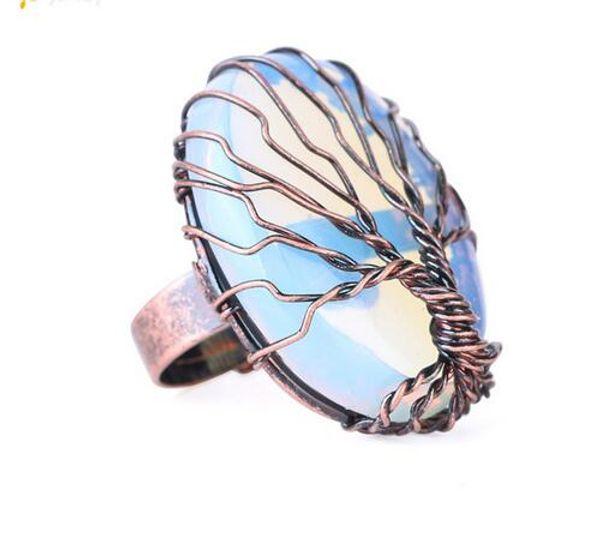 Antike Ringe für Frauen Vintage Finger Schmuck Eiform Naturstein Perle Draht gewickelt Baum des Lebens verstellbarer Ring