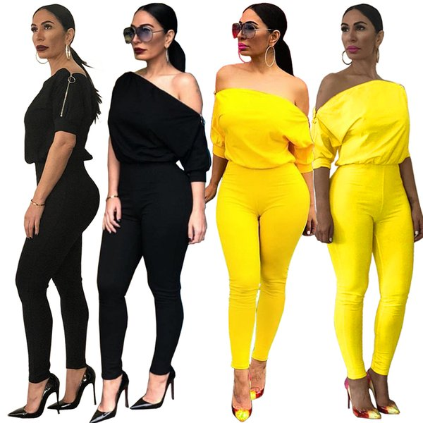top popular Womens Sexy Loose Pure Color Off Shoulder Split Zip Short Sleeve Elastic Waist Long Jumpsuit Streetwear Club Party Casual Commuting Suit 2020