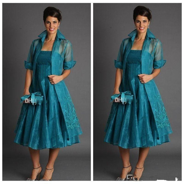 Elegant A Line Plus Size Short Mother of The Bride Dresses 2019 Tea Length Organza Evening Gowns With Jacket