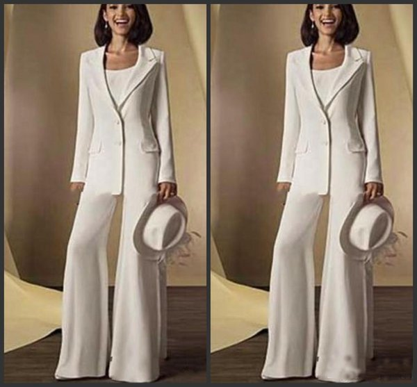 2019 Newest Satin Long Sleeves V-Neck Mother Of the Bride Pant Suits with jacket Mother Dresses Custom Made White Formal Outfits Cheap