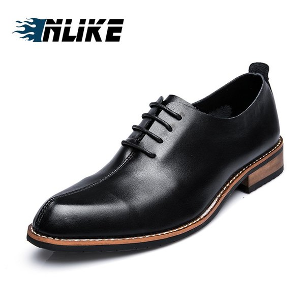 INLIKE  Genuine Leather Plain Toe Wedding Dress Shoes for Men Lace up Comfortable Formal Business Shoes Mens Party
