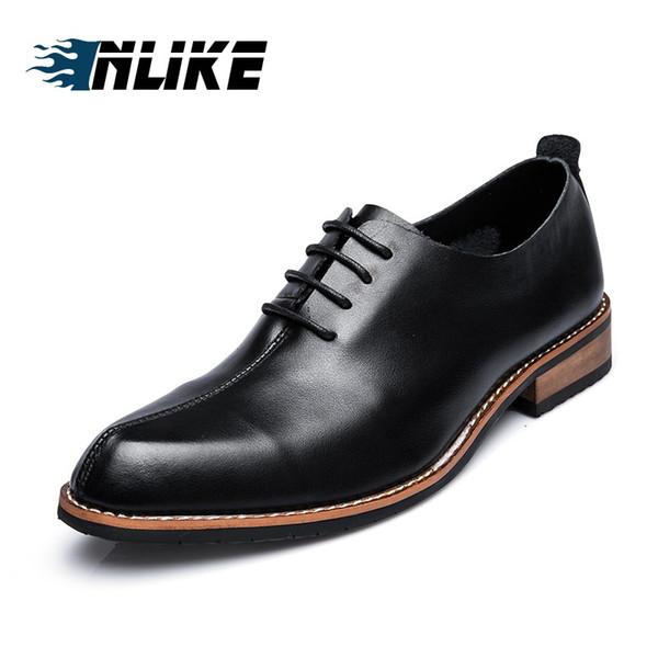 INLIKE Luxo Genuíno Couro Liso Toe Vestido De Casamento Sapatos para Homens Lace Up Confortável Formal Sapatos de Negócios Dos Homens Do Partido