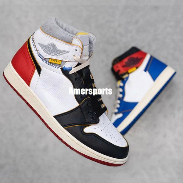 New Union x 1 Yüksek OG NRG 1 s Basketbol Ayakkabı Kırmızı Mavi Benzersiz Tasarımcı Moda Lider Erkek Eğitmenler Spor ayakkabı
