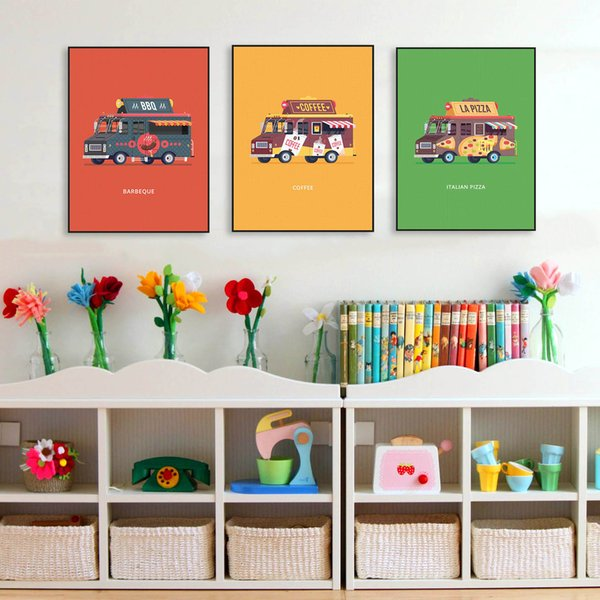 Modern Colorful Kawaii Cartoon Cars Bus Poster Nordic Baby Kids Room Wall Art Prints Picture Canvas Painting Home Decor Custom