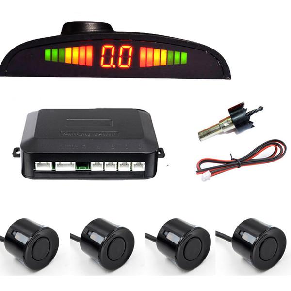 Utomobiles Motosikletler Araba Oto Parktronic LED Park Sensörü Ile 4 Sensörler Ters Yedekleme Araba Otopark Radar Monitör Dedektörü Ses ...