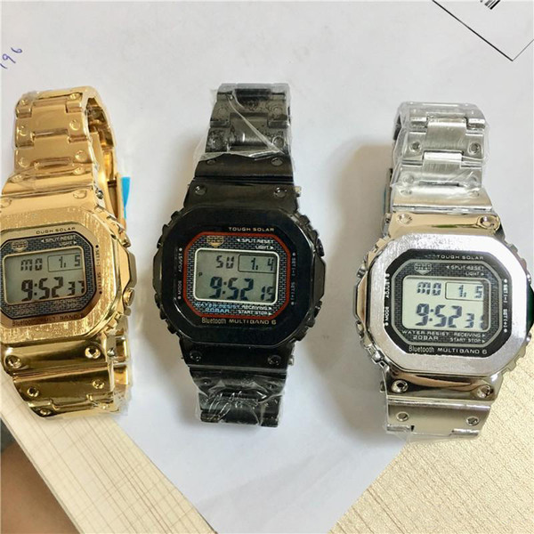NEW Luxury Men's Steel Belt Wrist Watches Quantity G Style LED Display Sport Student Watch Shockproof Square Dial Silver Strap Watches