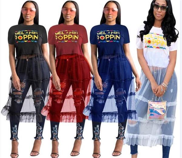 Women POPPIN Letter Dress Summer Patchwork Mesh Long Dresses Short Sleeve T-shirt Skirt Gauze Panelled See-through Dress One Piece Skirts