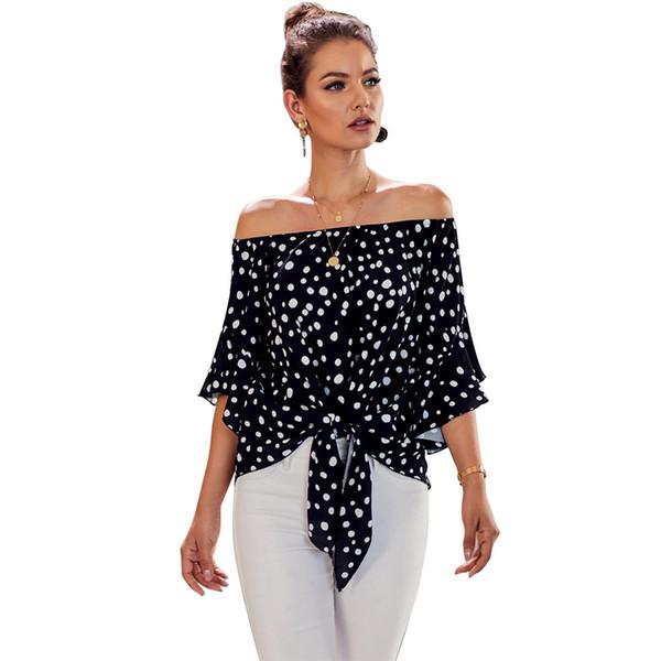Cuello camisa femenina de rutina 2019 Ropa interior que cubre la cabeza tórax y el abdomen de siete brazos círculo del punto de la manga de la chaqueta 252344 Camisetas