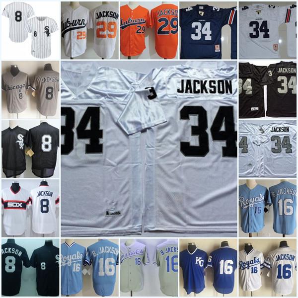 Erkek 1980'lerin # 29 # 34 Bo Jackson Auburn Forması # 34 Bo Jackson Oakland Futbol Forması Dikişli # 16 # 8 Bo Jackson Şikago Forması S-3XL