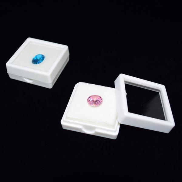 Exhibición de diamantes Caja de regalo Caja de cuentas cuadradas Caja de piedra Caja de gemas Bandeja de plástico Negro y blanco Organizador Holder ZC0234