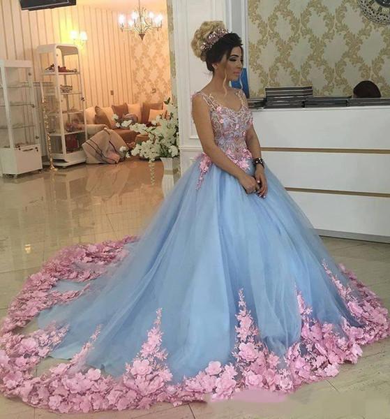 Baby Blue 3D Floral Quinceanera Dresses تنكر الكرة بثوب حفلة موسيقية فساتين 2019 يدوية الزهور الأشرطة الحلو الفتيات 15 16 سنة اللباس