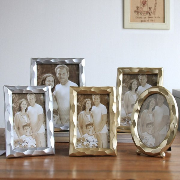 Golden Silver Creative Geometric Stereo Photo Frame Studio Study Decoration Table Wedding Photo Frame 6 Inch 7 Inch 8 Inch