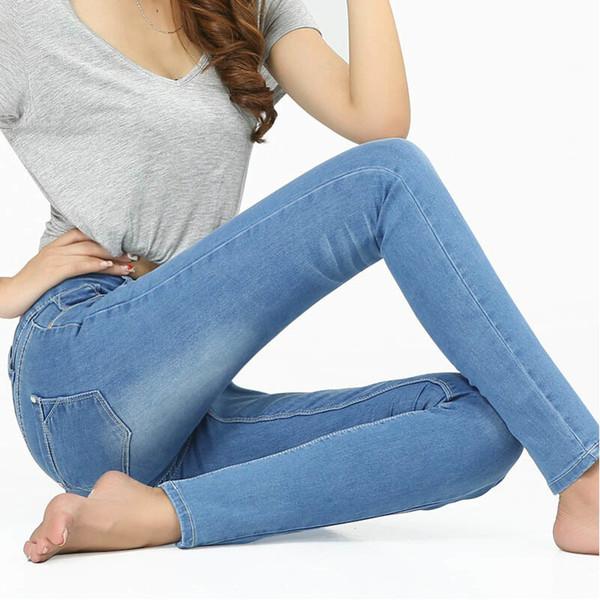 Compre Wqjgr Primavera Y Otono Outfit Tamano Mujeres Jeans Cintura Adelgaza Pies Lapiz Azul Mujer Jeans Mujeres Pantalones Largos Y19042901 A 17 35 Del Huang02 Dhgate Com