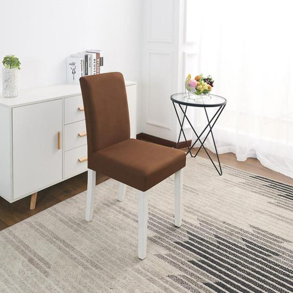 Court Chaise Protecteur amovible extensible Slipcover Salle à manger Housses de chaise couleur unie pour manger Cuisine banquet de mariage