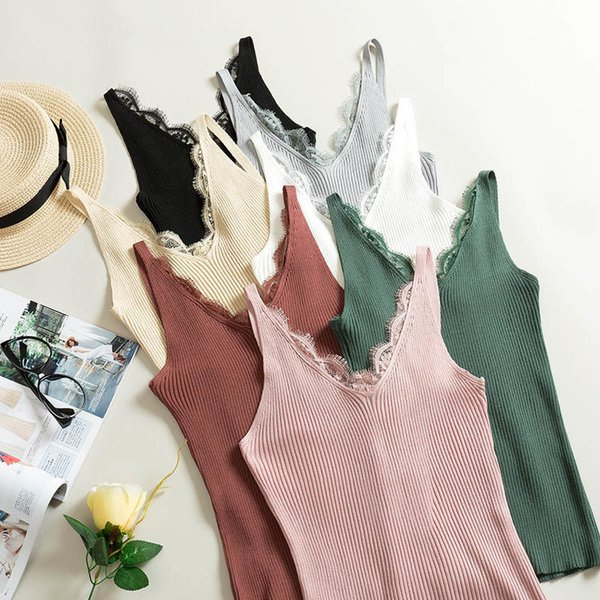Fitness Summer Tank Top Sleeveless Sexy V-neck Lace Camis Vest Slim Tops Fashion Woman Clothes woman clothes
