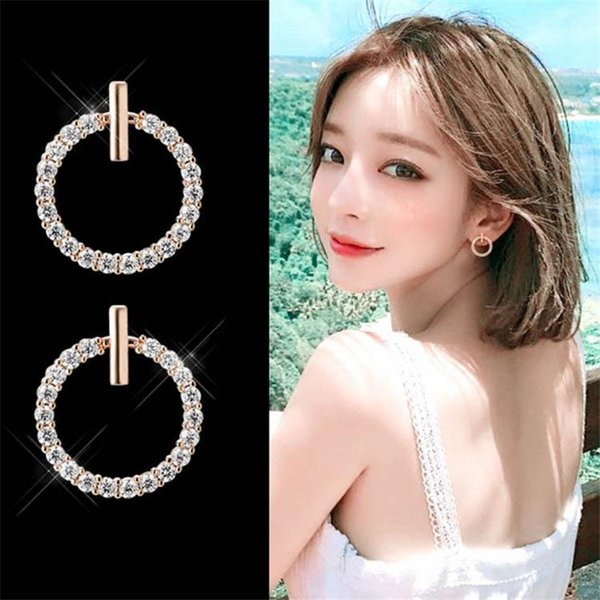 Cute Elegant Round Luxury Circle Small Hoop Earrings Korean Simple Temperament Ear Stud Earring for Women Children Wedding Jewelry