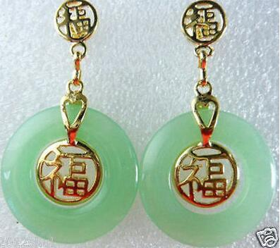 Jewelry Natural Yellow jewerly Light Green gem Earrings>free shipping